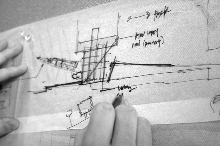 architects drawing sketching hand