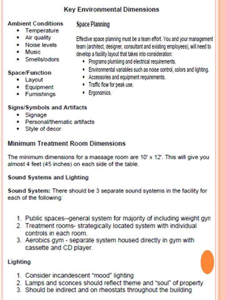 Key environmental dimensions of spa - Spa Design