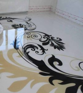 black white floral epoxy floor