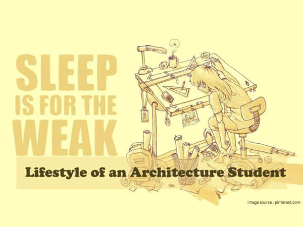 Lifestyle of an architecture student sleeping