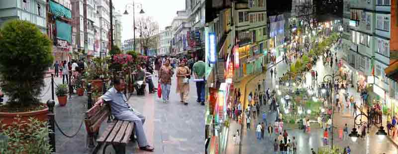 MG Road in Gangtok city, Sikkim with high business turnover rates due to pedestrianization