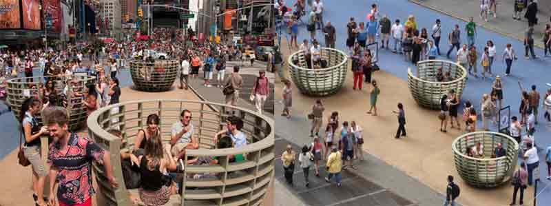 Public art installation encourages pedestrian to socialize